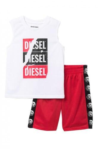 Diesel Boys White /& Red 2pc Pajama Short Set Size 4 5 6 7 8 10//12 14//16