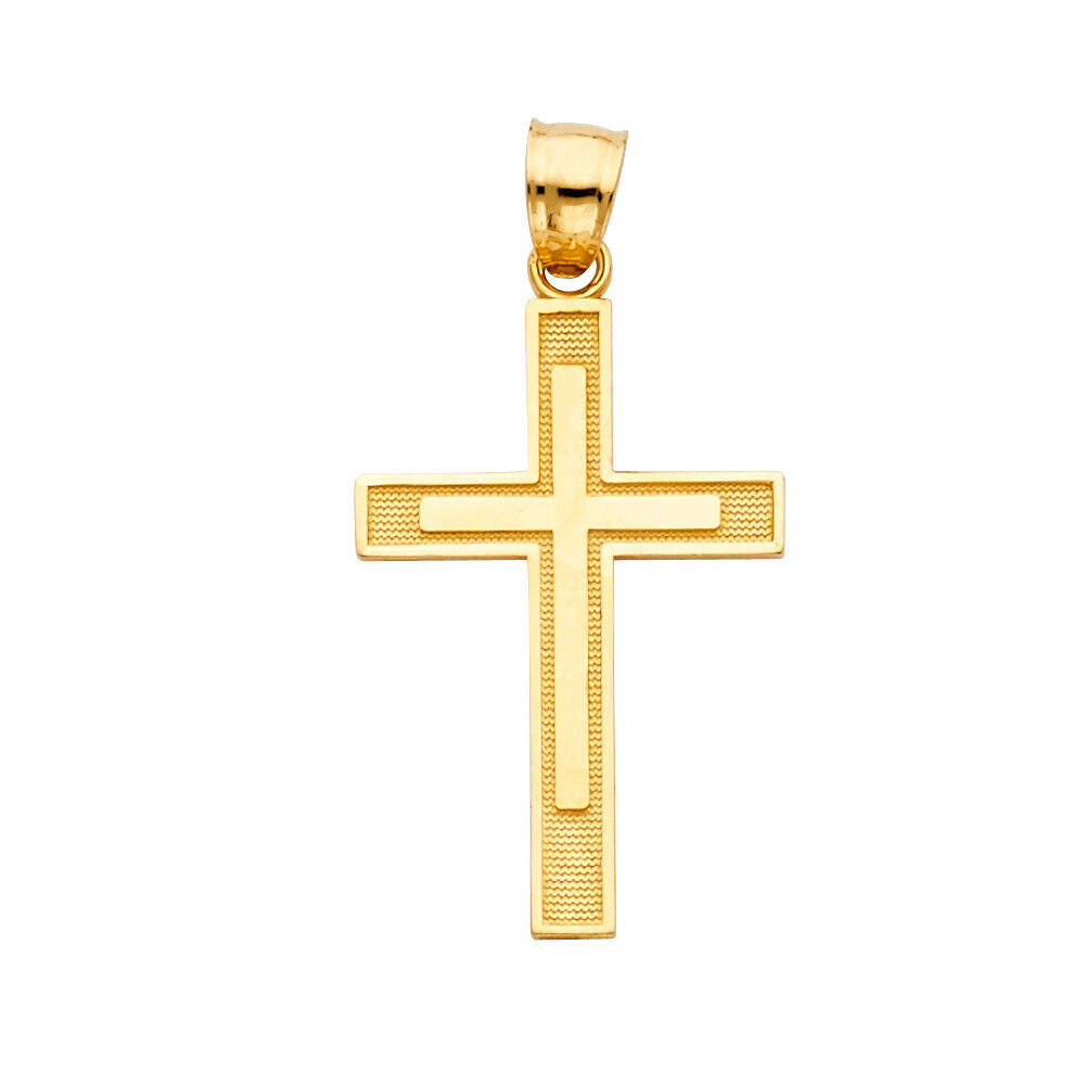 14K Solid Yellow gold Religious Cross Pendant Charm With 1 MM Singapore Chain