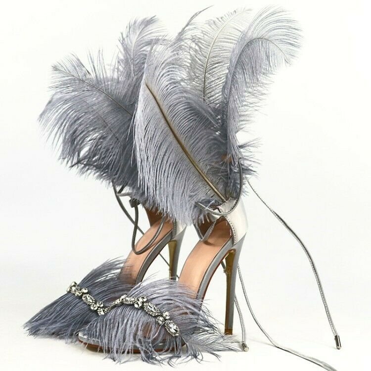 Zapatos de tacón alto Moda de Dama Pluma Rhinestone Peep Toe Sandalias Club nocturno Delgado Tacón Alto