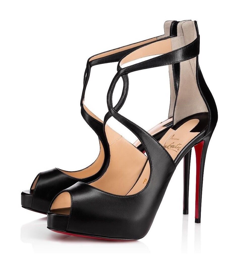 NIB Christian Louboutin Rosie 120 Black Criss Cross Strap Sandal Heel Pump 38.5