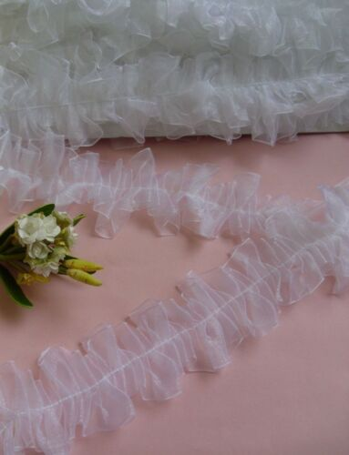 "2-1//4/"" White Ruffle Pleated Organza  Lace Trims-1 Yard-T376W"