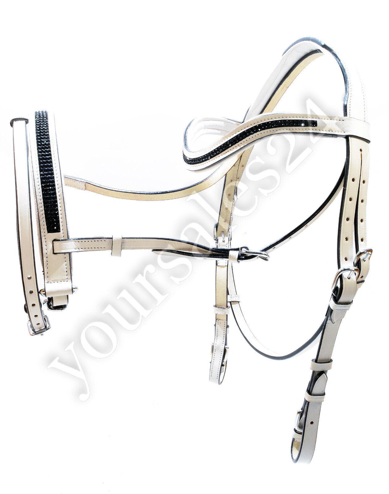 Esperia Dressur Trense Zügel Zaumzeug Voltegieren COB/Full weiß Leder; K25 75