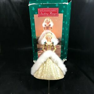 Vintage-1995-Happy-Holidays-Barbie-Christmas-Stocking-Hanger