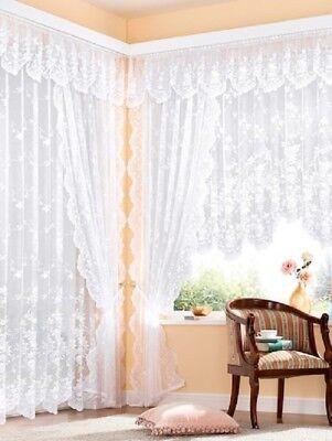 Loenie Fertiggardinen Blumenfenster Bogengardinen Automatikfaltenband 1:3