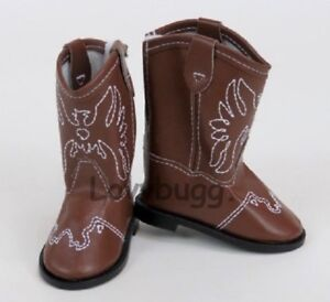 Brown-Western-Cowgirl-Cowboy-Boots-for-American-Girl-18-034-Doll-Shoes-BY-LOVVBUGG