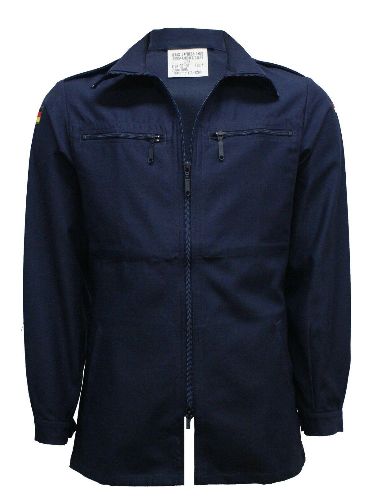 German Army Shirt Original Military Navy Blue Work Long Sleeve Zip Light Jacket