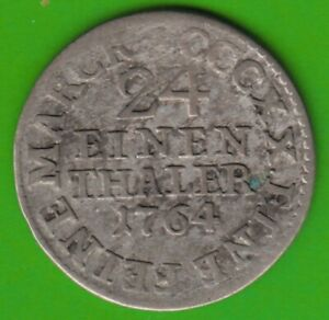 Saxony 1/24 Thaler 1764 Edc Very Fine nswleipzig