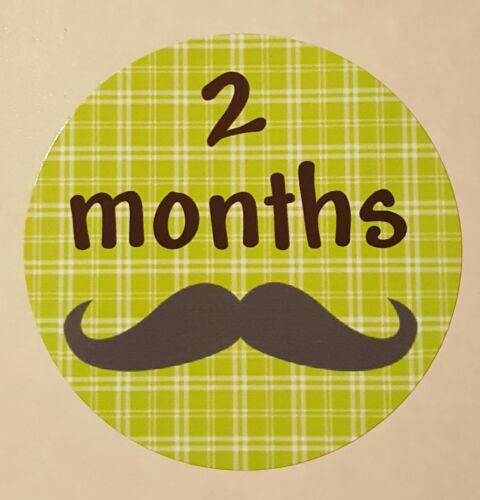 "2.5/"" Round Glossy Labels Months 1-12 Mustache Baby Milestone Stickers"