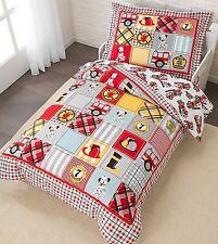 KidKraft 4 pc Fire Truck Dalmation Toddler Bed Bedding Comforter Sheets Set NEW