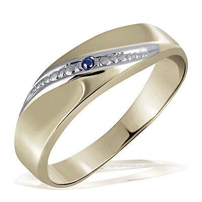 Goldmaid Ring Gelbgold 333 1 Safir, Linie rhodiniert