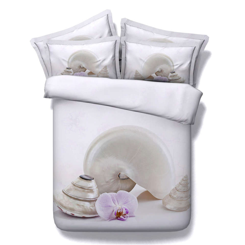 Conch Good Flowers 3D Printing Duvet Quilt Doona Covers Pillow Case Bedding Sets