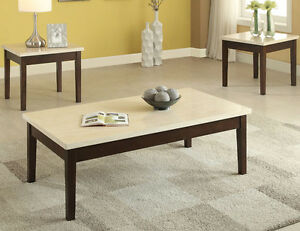 New 3pc Marcus Cream Faux Marble Dark Brown Finish Wood Coffee End