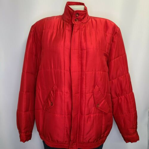 Clio Womens Vintage 80s 100% Silk Quilted Red Puff
