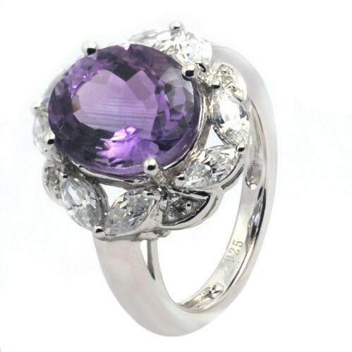 92.5 Sterling Silver Ring Natural Amethyst Silver Ring Tibetan Amethyst Silver Ring Amethyst Cabochon Silver Ring