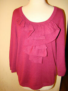 100% ALL PURE CASHMERE TALBOTS RUFFLE DARK FUSCHIA PINK SWEATER ...