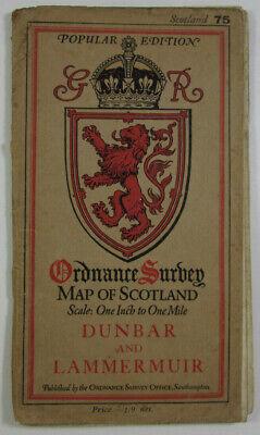 1926 Old Os Ordnance Survey Popular Edition One-inch Map 75 Dunbar & Lammermuir