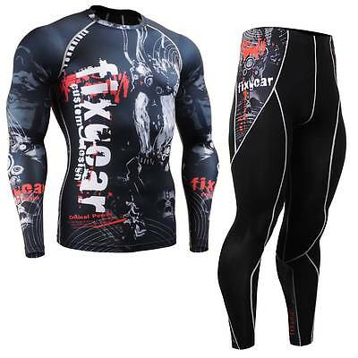 FIXGEAR CFL/P2L-B30 SET Compression Shirts & Pants Skin Tights MMA Training Gym