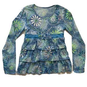 Justice-Girls-Blue-Lime-Green-Silver-Tie-Die-Ruffled-LSleeve-Top-Shirt-Sz-14-32