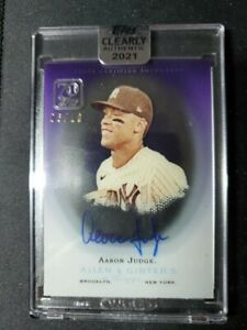 Aaron Judge 2021 Topps Clearly Authentic Allen & Ginter Purple Auto 6/10 Yankees