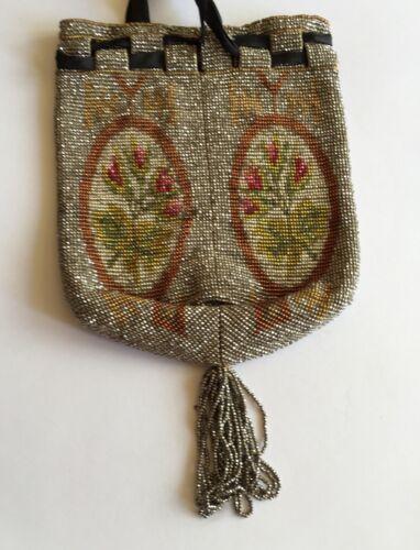 Color Acier Perla Acero Perle Reticule Flora Steel 19th Sac Rose Bag Bead Femme BYaSn