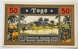 Notgeld-DEUTSCHE-KOLONIEN-50-Pfennig-Togo-1922-Germany-kassenfrisch-7078