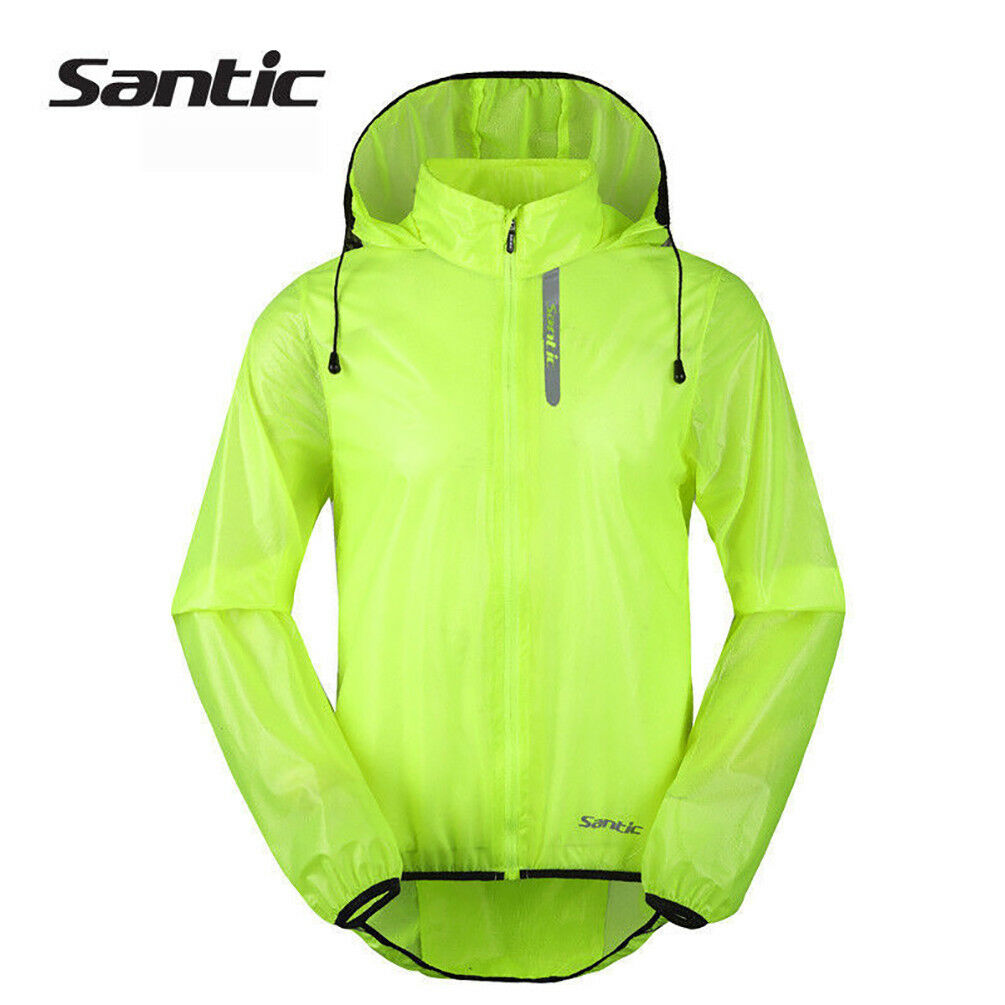 Santic Bicycle Cycling Jersey Windproof Waterproof Green Coat Raincoat  with Hood  unique design