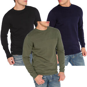 Mens-Casual-Crewneck-Jumper-Dissident-Cotton-Pullover-Sweater-Knitwear-Stelios