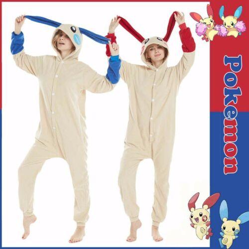 Anime Pokemon Minun PLUSLE Cosplay Pyjamas Une Seule Pièce Polaire Combinaison Pyjama