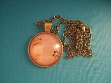 Dog Paw Print in Sand Necklace Pendant Puppy Glass Metal Footprint Beach Bronze