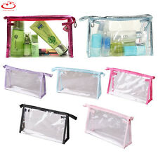 Woman Clear Transparent Plastic PVC Travel Cosmetic Make Up Toiletry Bag Zipper