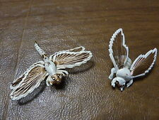 Lot of 2 Vintage Brooches Signed Monet Bee/Dragonfly White Enamel 3D Wire Wings
