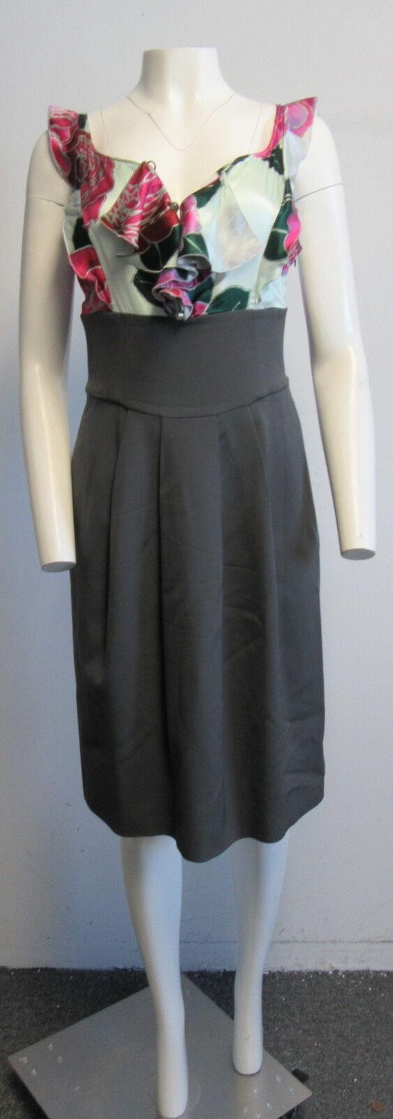 EMPORIO ARMANI Grün silk floral and grau wool dress SZ 44 8