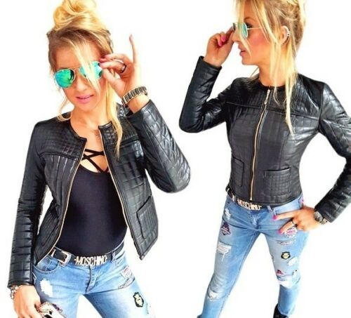 Damen Kunst Leder Jacke Bikerjacke Kunstleder Sweatjacke Blazer XS S M L XL K14