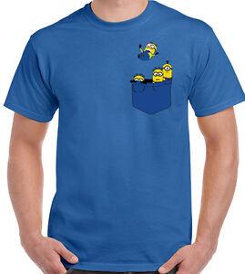 Hombre Minion Parodia Detalles Camiseta De Divertido Bolsillo Minions nwZNOX8P0k