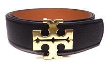 "Tory Burch 1.5"" Black Classic Tan Brown Leather Reversible Logo Belt- Xs-L"