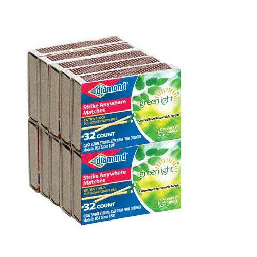 10 PACKS DIAMOND STRIKE ANYWHERE MATCHES  32 COUNT 320 Matches NEW!
