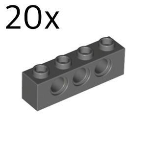 Free p /& p 20 x LEGO 3701 1x4 WITH HOLE Light Bluish Grey