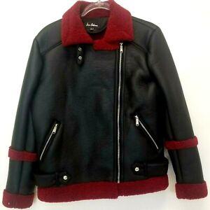 Sam-Edelman-Womens-Black-Red-Faux-Leather-Jacket-Size-Medium-EUC