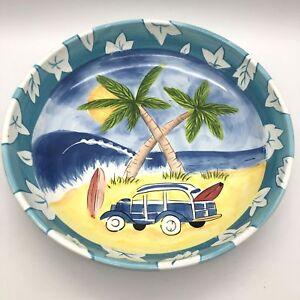 Hausenware-Round-Serving-Bowl-Vintage-Woody-Surfing-Beach-Design