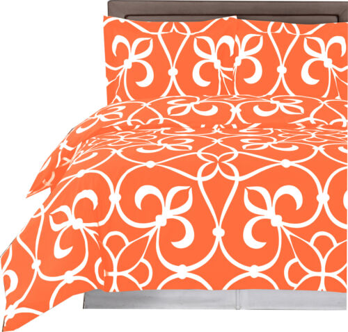 100% Cotton Printed 4PC Victoria Duvet Cover & Comforter, Soft & Smooth Set