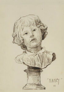F.C - Early 20th Century Pen and Ink Drawing, Study of a Sculpture