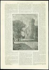 1888 - ANTIQUE PRINT - CASTLE GROUNDS TOWER FORTIFICATION AUDLEY HARDY (236)