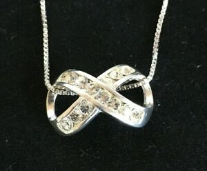 925-Silver-INFINITY-Pendant-CZ-stones-on-18-Sterling-Chain-Together-Forever