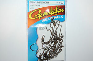 New Lot of 2 Details about  /Gamakatsu 07114 Offset Shank Worm Hook 4//0