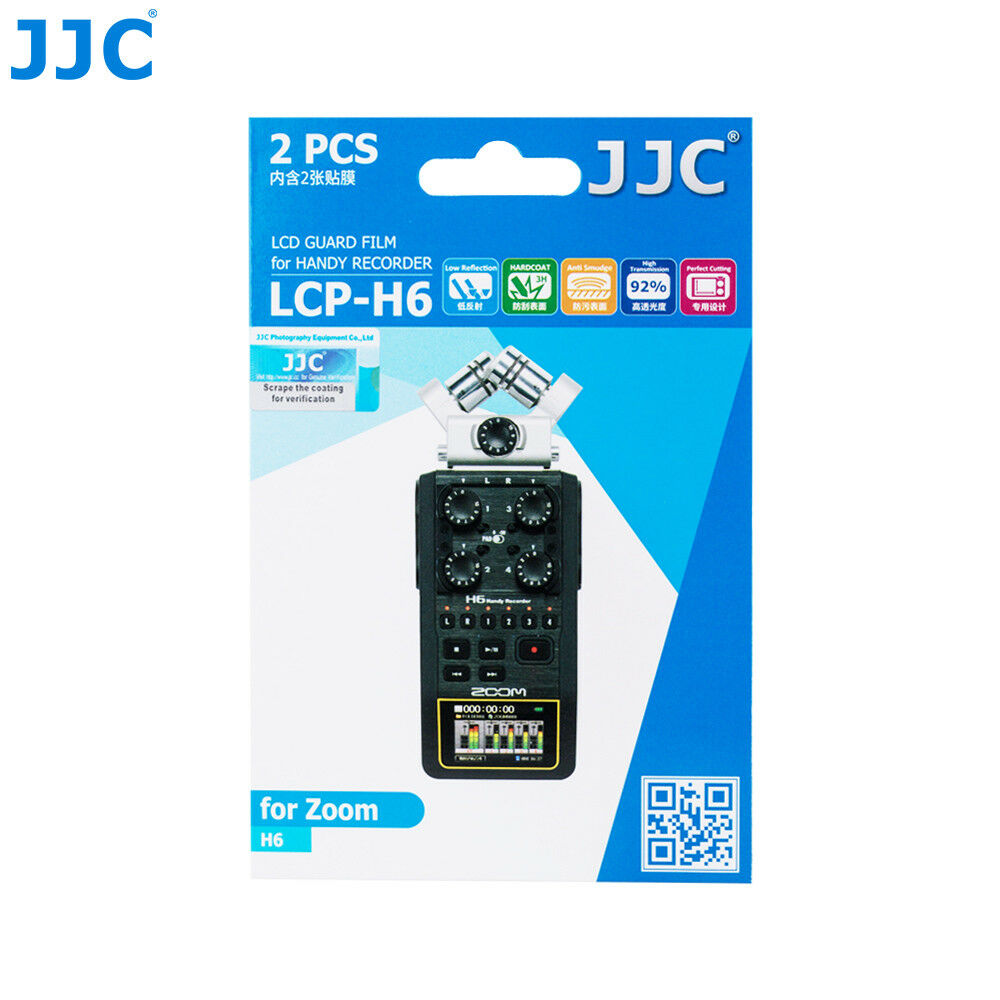 JJC 2PCS LCD Guard Film Screen Protector for Zoom H6 Six-Track Portable Recorder