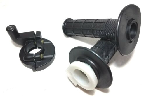 """PAIR RUBBER 7//8/"""" TWIST THROTTLE GRIPS WITH CLAMP 50CC TO 250CC PIT DIRT BIKE ATV"""