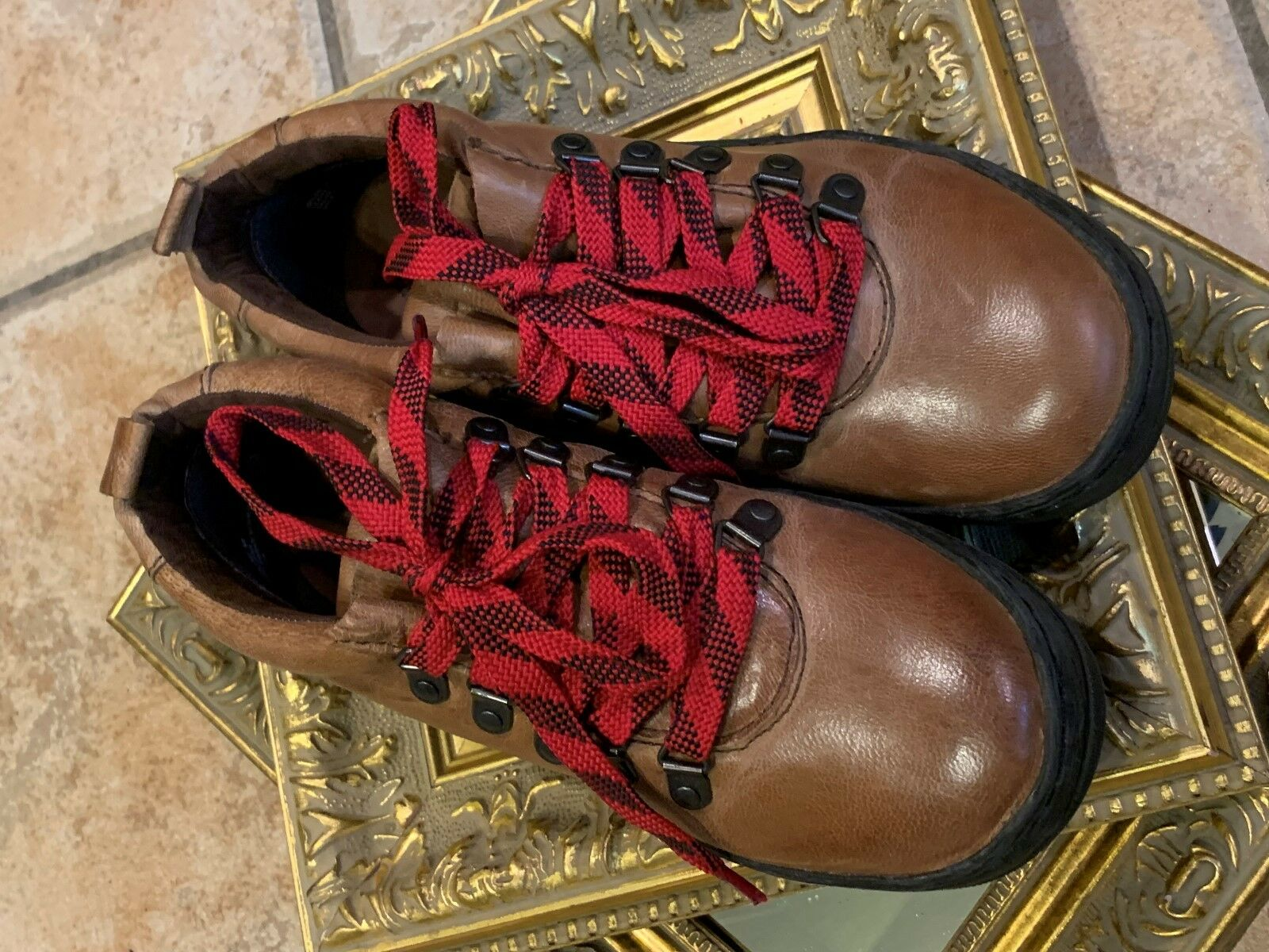 OTBT GREEN LAKE LAKE LAKE BROWN LEATHER RED LACE UP HAVANA ANKLE BOOTS 6 M NEW f01d98