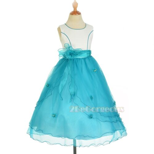 Flower Girl Tulle Dress Petticoat Wedding Bridesmaid White Green 18m-11y FG220C