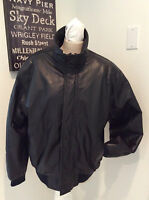 "Vtg Men Leather Bomber Jacket M L 46"" Chest Leather Motorcycle Jacket Biker Coat"
