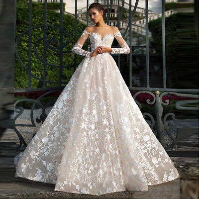 best service 9b5b5 e771f Champagner Lange Ärmel Spitze Hochzeitskleid A-Linie Brautkleid Wedding  Dresses | eBay
